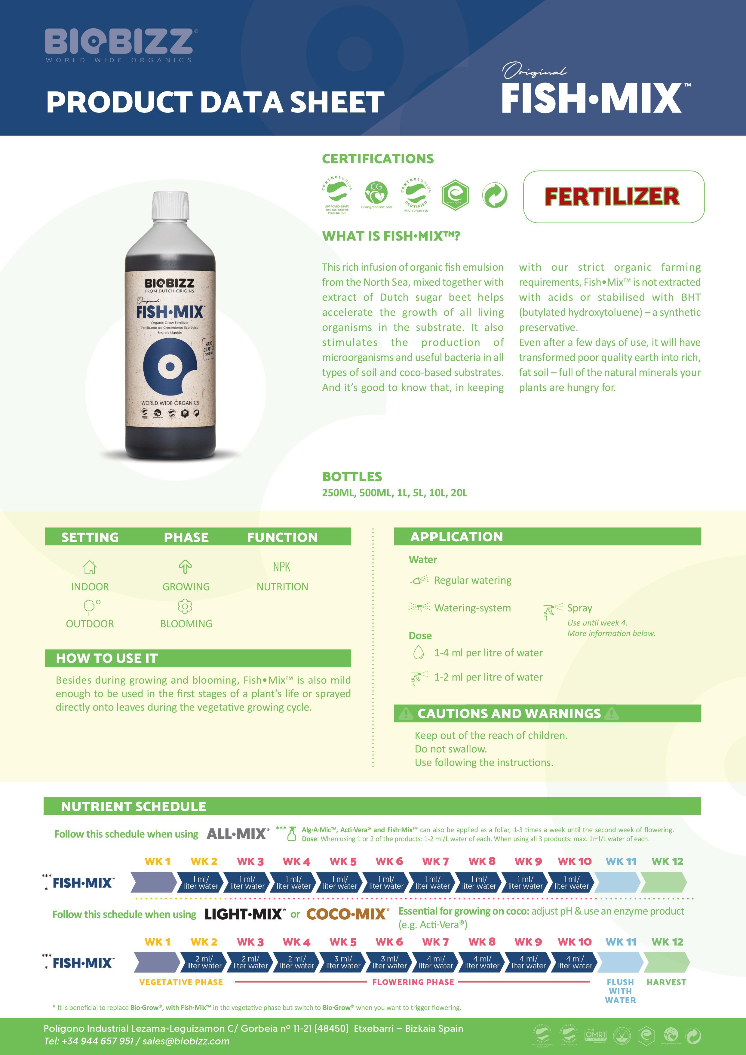 Biobizz Fish Mix - Product Data Sheet 2020