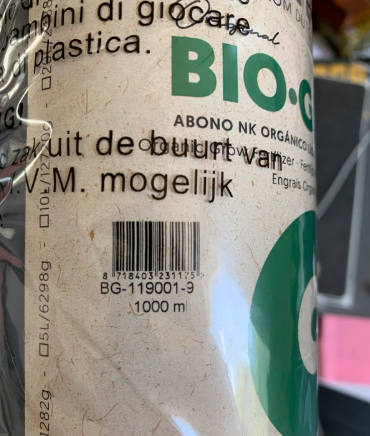 Biobizz nutrient bottle label with product expiration date