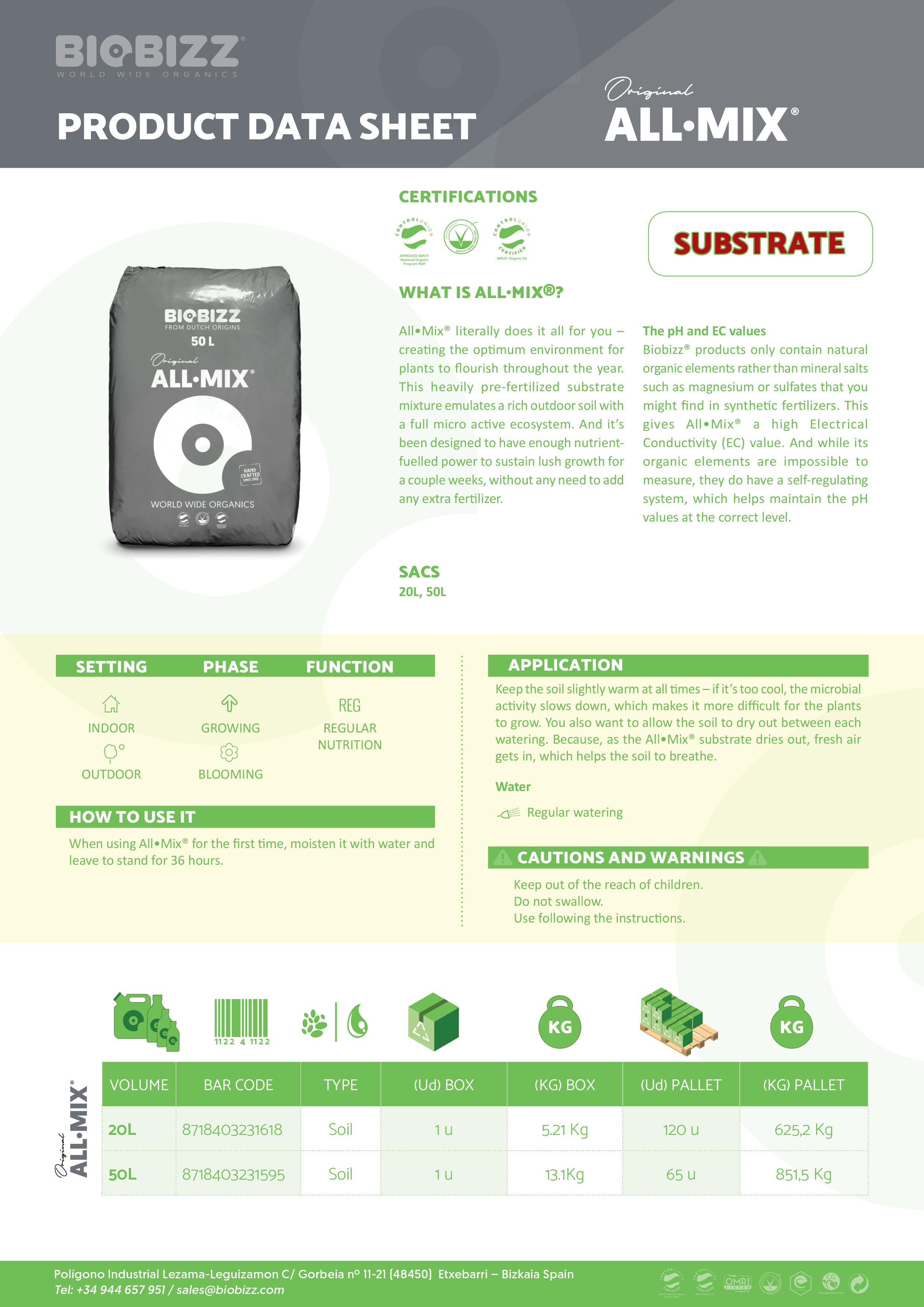 Biobizz All-Mix Data Sheet 2020