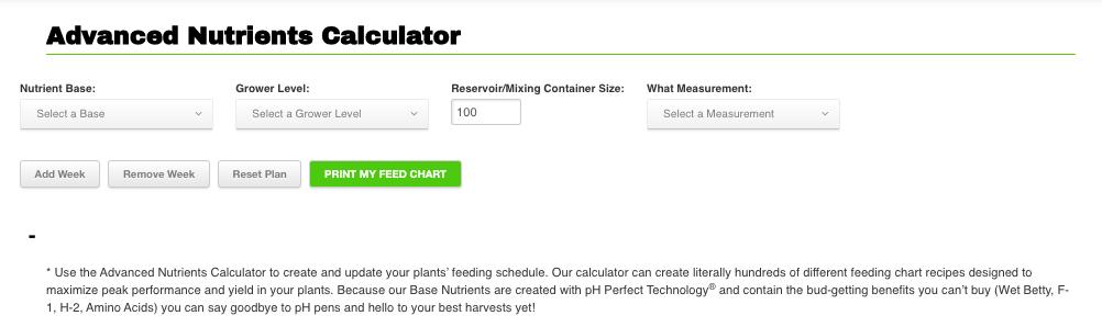 Advanced Nutrients Calculator Tool