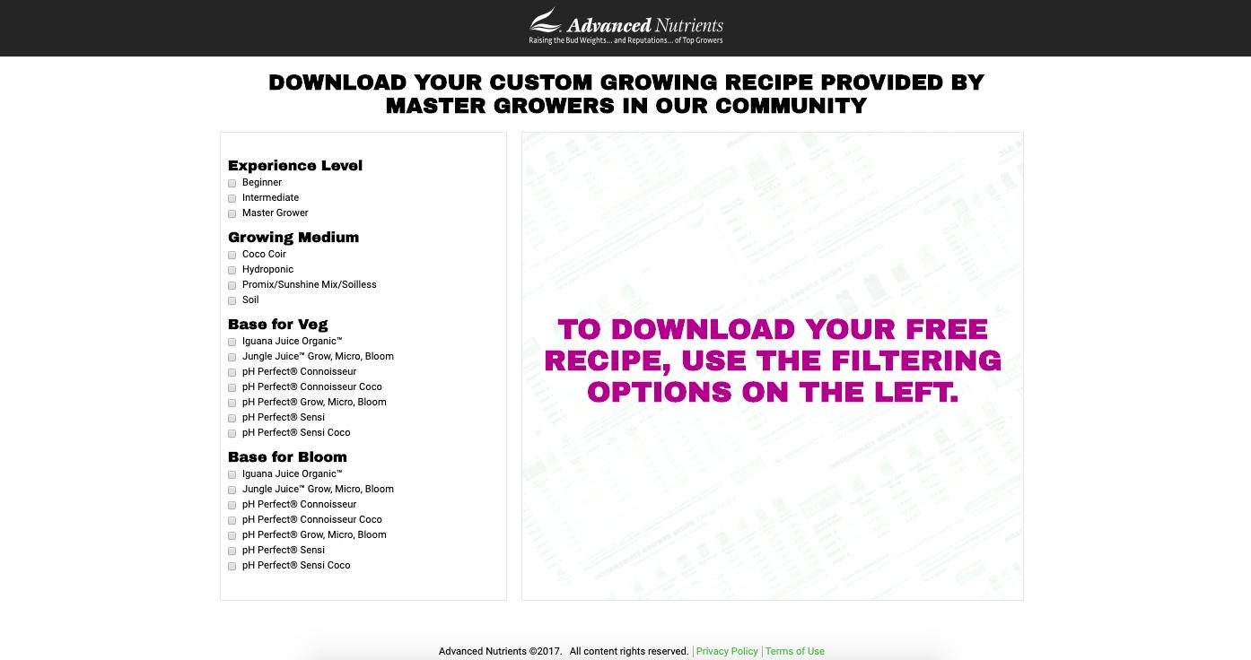 Advanced Nutrients custom feeding charts