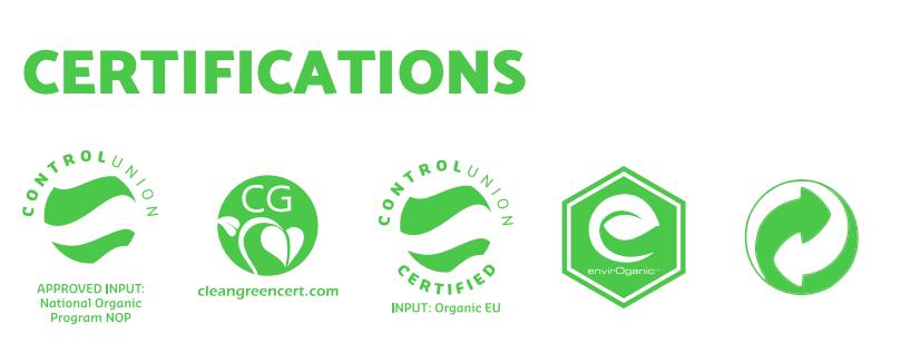 Bio-Grow's organic certificates.